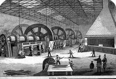 12 Tilt Hammers in operation at Sanderson Brothers and Co., Attercliffe Forge and Rolling Mills Attercliffe, Sheffield. The picture shows the old-type hammers. These could be run by a number of waterwheels, but it is believed that this particular shop was powered by steam engine. In the foreground are 'scissors', used for cutting the bars.