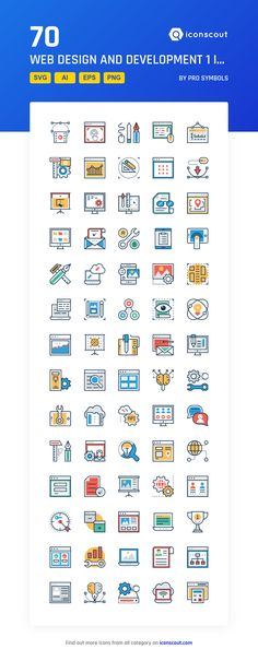 Web Design And Development 1  Icon Pack - 70 Flat Icons