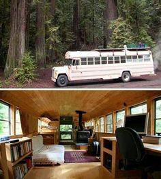 (DIY Inspiration) School Bus Into A Cozy Cabin On Wheels