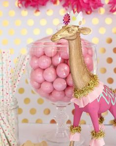 What a fun pink and gold circus party, love this color palette! Gold and pastel circus birthday party. Mixing the gold in, with the gold giraffe cake topper! Safari Birthday Party, Carnival Birthday Parties, Circus Birthday, Circus Party, Birthday Party Decorations, 3rd Birthday, Birthday Ideas, Birthday Recipes, Table Decorations