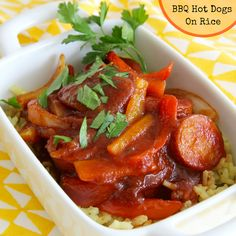 BBQ Hot Dogs on Rice is a misnomer, not hot dogs, sausage.  Read reviews, made lots of changes, and it ended up tasting really good.  Served on chicken-herb rice.  #AllrecipesAllstars  #AllrecipesFaceless  #MyAllrecipes