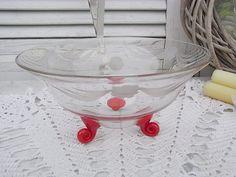 Vintage Kristall - vintage Kristall Schale Schliff rote Schneckenfüße - ein Designerstück von artdecoundso bei DaWanda