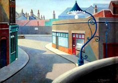 """""""I thought I'd start today with a great favourite of mine: this is """"Blackwall"""" by Harold Steggles which is in the collection The painting is undated but, judging by Harold's style, I would guess that this was painted in either 1930 or Camden London, East End London, London Art, Camden Town, Cityscape Art, Brick Lane, Brighton And Hove, Art Uk, Exterior Paint"""