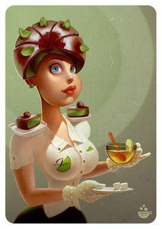 может чайку? МАКС КОМАКО #girl #candy #chocolate #nicy #lolipop #max_komako #sugar #nicy #sweet #сладкие_иллюстрации #candy_art #foodporn