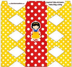 Caixa Bala Branca de Neve Cute totalmente grátis, pronto para personalizar e imprimir em casa. Snow White, Kids Rugs, Quilts, Paper, Cards, Silhouette Projects, Birthday Ideas, Frozen, 1