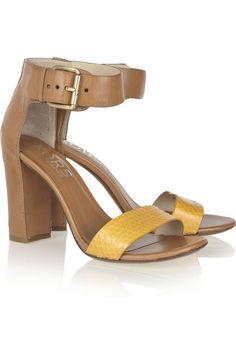 KORS Michael Kors Lynden leather and snake sandals