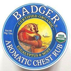Badger Certified Organic Aromatic Chest Rub Eucalyptus & Mint 2 Sizes