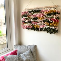 Using coloured woolen yarn to create these wall hangings - using weaving techniques on a weaving loom. Mainly rya loops and tabby weave. Perfect wall decor, adding woven texture and warmth! Woven Wall Hanging, Loom Weaving, Weaving Techniques, Wall Hangings, Weave, Wall Decor, Texture, Color, Home Decor Wall Art