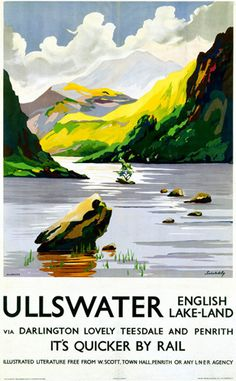 LNER Vintage Travel Poster by Schabelsky Ullswater, Lake District, Cumbria. LNER Vintage Travel Poster by Schabelsky Posters Uk, Train Posters, Railway Posters, Wall Posters, Cumbria, Lake District, British Travel, National Railway Museum, Travel Ads