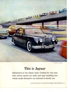 Only Americans can get a new Jaguar this year. Naturally, Jaguars are scarce. You just can't mass-produce a superb car like the Jaguar unless you compromise your standards. New Jaguar, Jaguar Cars, Vintage Ads, Vintage Prints, E Type, Print Ads, Old Cars, Classic Style, The Originals