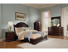 2000 The Furniture Dark Brown Traditional Style Bedroom Set With Low Profile Bed