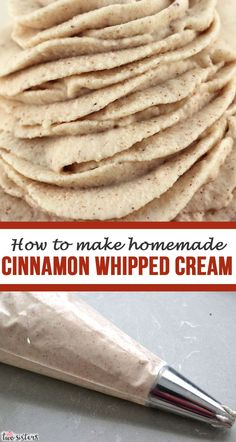 Homemade Cinnamon Whipped Cream - Take your Fall and Thanksgiving desserts to the next level with this delicious flavored Whipped Cream. Flavored Whipped Cream, Making Whipped Cream, Homemade Whipped Cream, Just Desserts, Delicious Desserts, Dessert Recipes, Cinnamon Apple Chips, Whipped Frosting, Biscuits