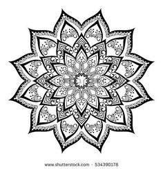 Round ornamental mandala for coloring book Isolated design element Vector illustration.