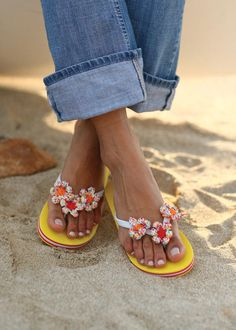 Flip Flop with flowered crochet