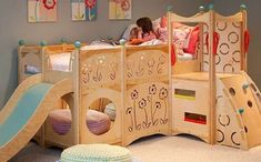 Here are 30 Kids Bedroom Ideas with Girls and Boys Bunk Beds. Kids bedroom design with bunk beds, cool i. Bunk Bed With Slide, Bunk Beds With Stairs, Bed Slide, Kids Bed With Slide, Slide Slide, Play Beds, Kids Bunk Beds, Dream Bedroom, Girls Bedroom