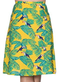 Banned Toucan All Over A-Line Skirt Yellow ♥ Shop now at Succubus Yellow Shop, Over 50, Swing Skirt, A Line Skirts, Tie Dye Skirt, Black Tops, Clothing, Fabric, Color