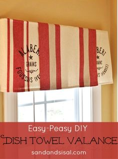 Easy Dish Towel Valance- no sewing, no gluing. It doesn't get any easier than this!
