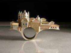 Ring   Vicki Ambery-Smith. 'Venice bridge, Tuscany' Silver and various colours of gold.