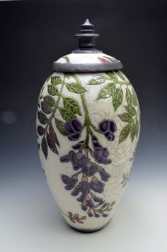 JoAnn Axford, Wisteria Covered Jar, ^06 raku
