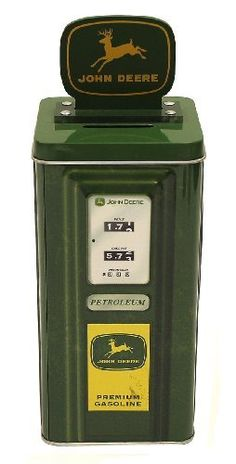 The Tin Box Company John Deere Tall Beverage Machine Bank by The Tin Box Company. $9.99. Officially licensed by John Deere. Great bank for kids and adults. With removable lid. From the Manufacturer                John Deere tall gas pump machine bank. Great bank for kids and adults. Officially licensed by John Deere.                                    Product Description                An old-fashioned tin bank that looks like a vintage John Deere gas pump. Measures approximat...