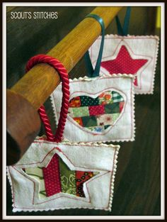 Quilted Christmas Ornaments - great for scrap busting