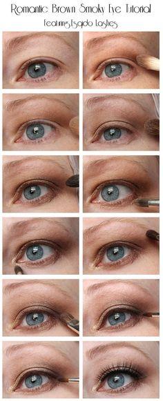 Romantic Brown Smoky Eye Tutorial Featuring Esqido Mink False Lashes Korean Beauty Tips, Best Beauty Tips, Beauty Hacks, Beauty Tutorials, How To Apply Lipstick, How To Apply Makeup, Makeup Jobs, Makeup Ideas, False Lashes