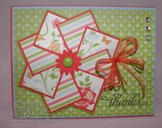 A different take on a pinwheel card...using some Stampin' Up! DSP. Card made by Gretchen Barron