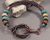 Handmade Hand Forged Copper, Woven Wire Bead Bracelet by Monaslampwork -Handmade by Mona Sullivan Antique Copper Semi-Precious Stones Boho