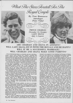 Royal Engagement Special - True Romances Magazine - What The Stars Held For The Royal Couple