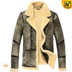 Mens Designer Leather Fur Lined Coat CW878123 $1395.89 - www.cwmalls.com