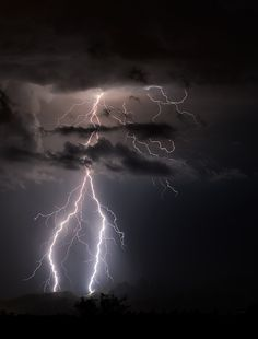 """Lightning in the Catalinas by Scott Wood. """"A lighting strike in the Catalina Mountains in Tucson, Arizona"""""""