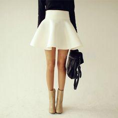 Barato 2015 verão outono grande Plus Size mulheres branco senhoras do Vintage Saia de cintura alta Flared Puff Saia Mini Skater bola saias, Compro Qualidade Saias diretamente de fornecedores da China: Women Summer Fashion Solid Big Hem Sheer Chiffon Circle Skater SkirtUS $ 8.98/piece