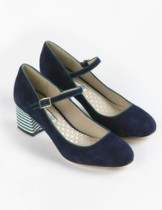 navy Mary Jane shoes with striped heel