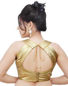 Brocade Readymade Gold Sleeveless Sari Saree Blouse Choli Crop Top #SariSaree
