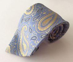 Geoffrey Beene Neck Tie Light Blue Yellow Paisley Stain Resistant 100% Silk #GeoffreyBeene #NeckTie