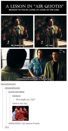 Headcanon:  Cas watches Friends.