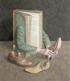The surreal books of British artist and illustrator Jonathan Wolstenholme Ghost In The Machine, Sign Printing, I Love Books, Surreal Art, Illustrations, Book Illustration, Book Worms, Book Art, Wall Art Prints