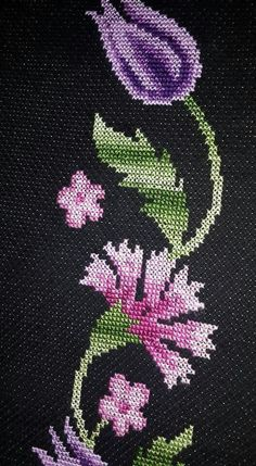Towel with Cross-Stitch Towel Embroidery, Embroidery Flowers Pattern, Embroidery Applique, Cross Stitch Embroidery, Machine Embroidery Designs, Cross Stitch Boards, Just Cross Stitch, Cross Stitch Flowers, Cross Stitch Designs