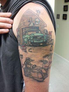 Mustang Garage & Harley Tattoo by Joey Ellison - Infinite Art Tattoo - Rogersville, TN