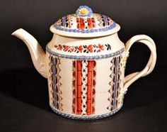 A Fine English Leeds Chintz Creamware Teapot & Cover, Circa 1770's.