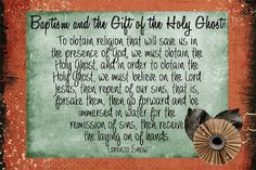 LDS Handouts: Lorenzo Snow-Lesson Baptism and the Gift of the Holy Ghost Holy Ghost Talk, Baptism Talk, Follow The Prophet, Fhe Lessons, Lds Church, Sunday School Lessons, Scripture Study, Activity Days, Relief Society