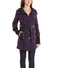 Purple & Black Houndstooth Trench Coat #zulily #zulilyfinds