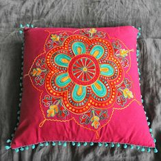 Embroidered Square Gypsy Caravan Cushions - Cushions & Throws - Home Accessories Cushion Embroidery, Embroidered Cushions, Embroidery Patterns, Hand Embroidery, Diy Pillows, Custom Pillows, Decorative Pillows, Throw Pillows, Cushion Covers