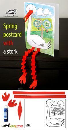 Spring postcard with a stork Bird Crafts, Animal Crafts, Paper Crafts, Spring Art, Spring Crafts, Craft Activities For Kids, Preschool Activities, Diy For Kids, Crafts For Kids