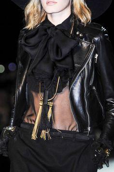 Black bicker jacket over black full length skirt in 1970s Retro Style  Black Biker JacketTrend forSpring Summer 2013.  Saint LaurentSpring Summer 2013 #Fashion #Trends