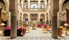 traditional riad in fez,morocco Marrakech, Fez Morocco, Hotel Riad, Riad Fes, Patio Central, Moroccan Art, Moroccan Style, Outdoor Seating Areas, Rooftop Bar