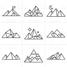 Mountain and line drawing symbol and icon collection. Vector Art : Mountain Symbols and Icons<br> Mountain and line drawing symbol and icon collection. Geometric Symbols, Geometric Lines, Geometric Origami Tattoo, Geometric Nature, Geometric Animal, Geometric Embroidery, Geometric Drawing, Geometric Tattoos, Drawing Tips