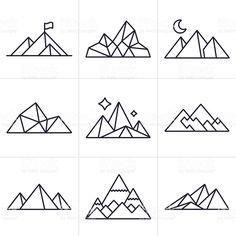 Symboles et icônes de la montagne stock vecteur libres de droits libre de droits