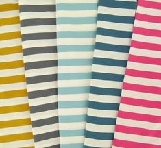 Block jersey now available in five new, fresh colors!  This jersey has been knitted from organic cotton yarn with elastane, so it is soft and comfy. Width of each stripe is approximately 20 mm. Mix & match these stripes with unicolored or printed jerseys. If you want to match your