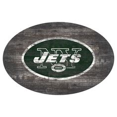 NFL New York Jets 46 Distressed Wood Oval Sign